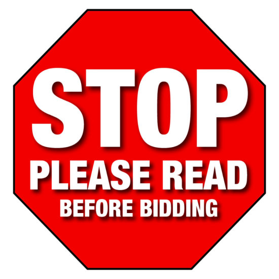 STOP PLEASE READ BEFORE BIDDING!