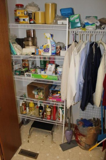 Contents of laundry room pantry & cabinet