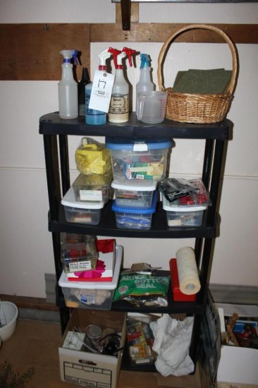 4- tier shelf w/ contents incl.: cleaners, glue guns, hardware