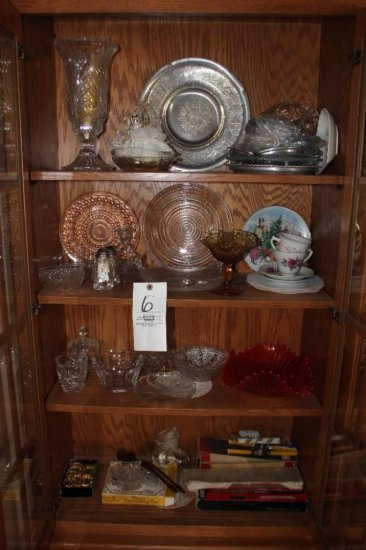 Assorted glassware incl.: cups, saucers & pattern glass
