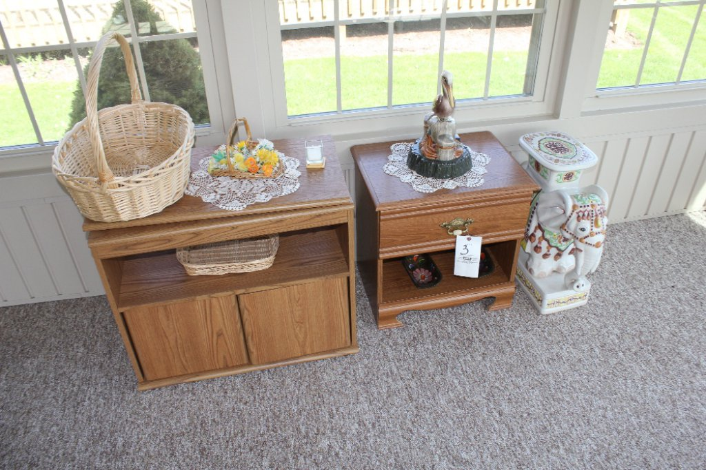 TV stand, end table, elephant stand, pelican pottery & baskets