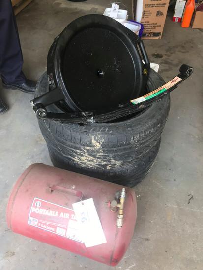 Portable Air Tank, Oil Pan & Pair 235/45R17 Tires