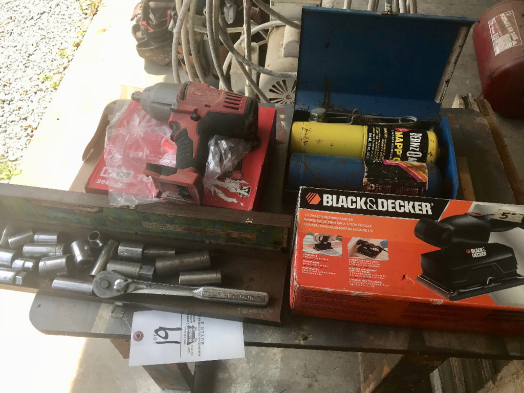 Milwaukee Impact Wrench, Sockets, B & D Sander, Misc.