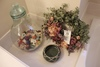 Wreath, Pottery, Glass Jug W/ Matches