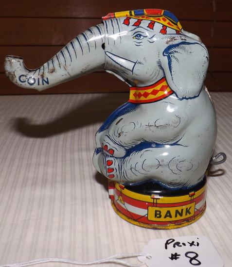 Chein Circus Elephant Tin Coin Bank, Mechanical Pull Tail