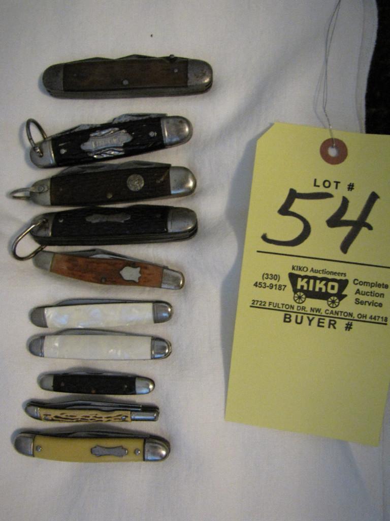 Lot: 10 pocket knives inc  Ulster boyscout, Kamp King