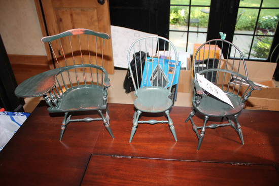 (3) Decorator/Doll Size Hitchcock Style Chairs