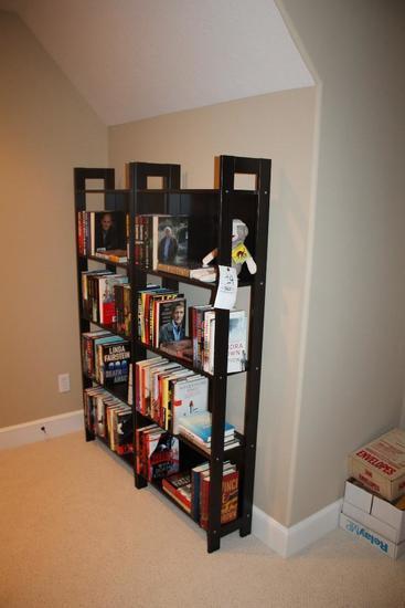 (2) Bookshelves & Assorted Hardback Books