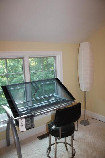 Modern Glass Top Drafting Table w/ Stool & Lamp