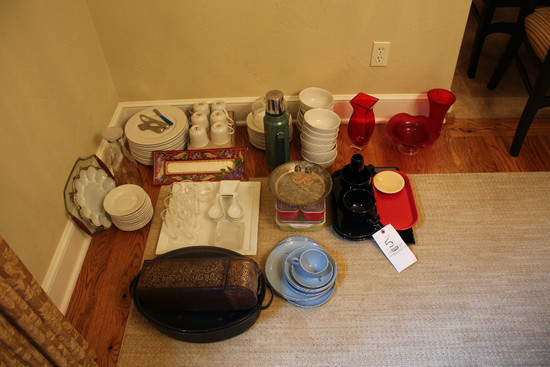 Assorted Servingware, Platters & Rooster