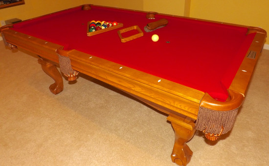 Brunswick Contender Oak Slate to Billiard Table With Minnesota Fats Accessory Kit