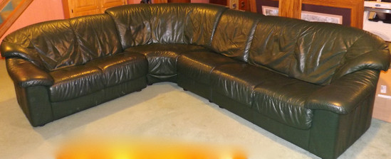 Italian Green Leather 4 pc Sectional Sofa