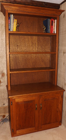 Nice 2-pc Oak Bookshelf W/ Bottom 2-Door Storage