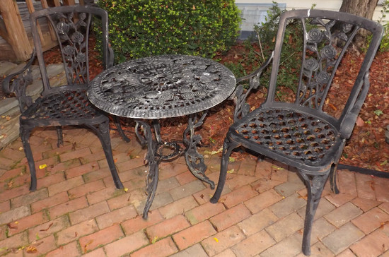 Heavy Cast Metal Outdoor Patio Table With Two Matching Chairs Rose Decorated