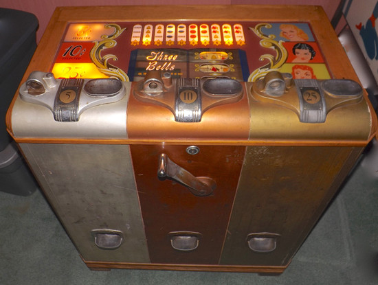 1940 Mills Three Bells Cabinet Slot Machine