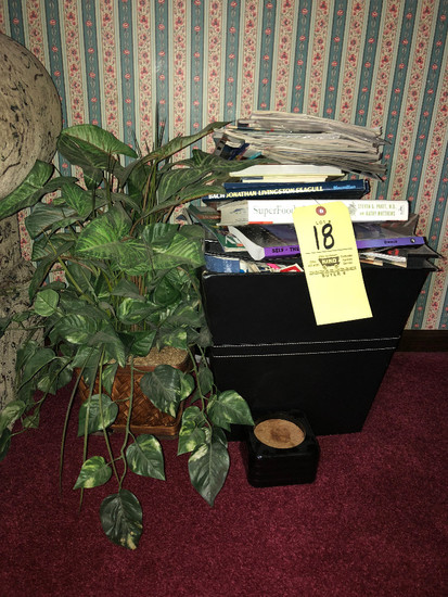 Books, Bin, Artificial Plant