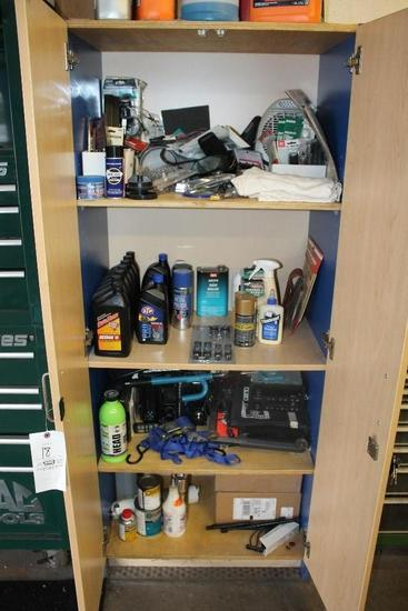 Cabinet W/ Contents Inc. ATF Fluid, Head Units, Sand Paper & Hardware