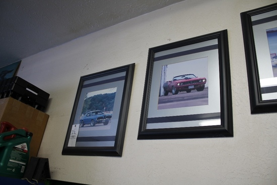 5 Framed Classic Car Pictures
