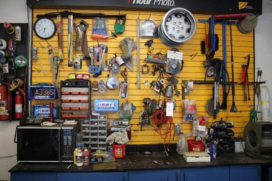 Contents of Peg Board & Workbench Inc. Wiper Blades, Saws, Bolt Stock, C-Clamps, Snow Brushes