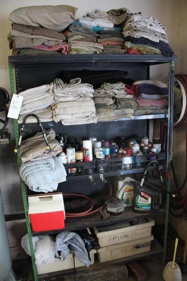 Metal Shelf W/ Car Towels & Assorted Spray Paints