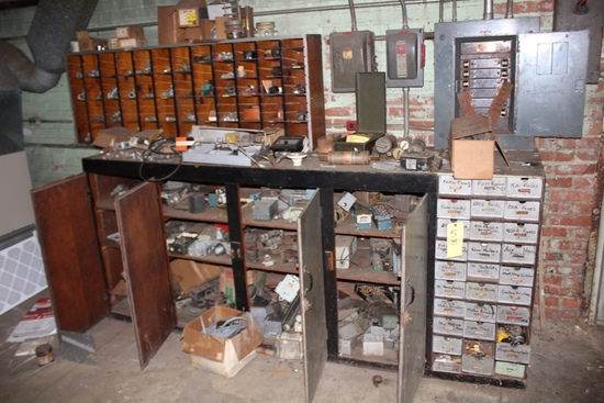 Wood Hardware Cabinet w/ Assorted Electrical Components