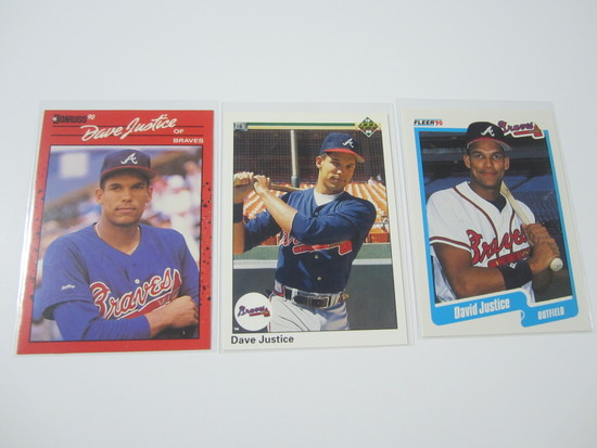 DAVE JUSTICE BRAVES 3 CARD ROOKIE CARD LOT