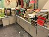 Dozens of stacks of text books