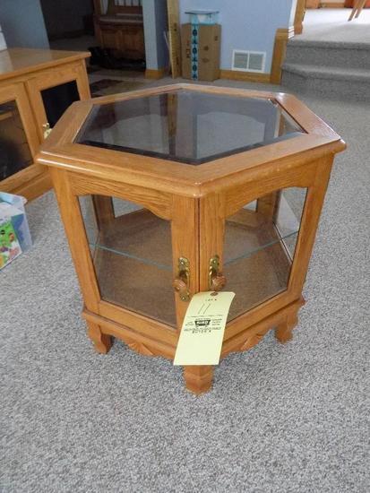 Glass Top Oak End Table