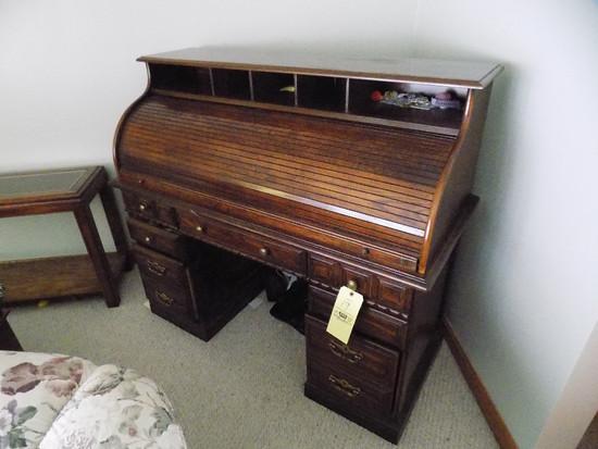 Modern Oak Roll Top Desk