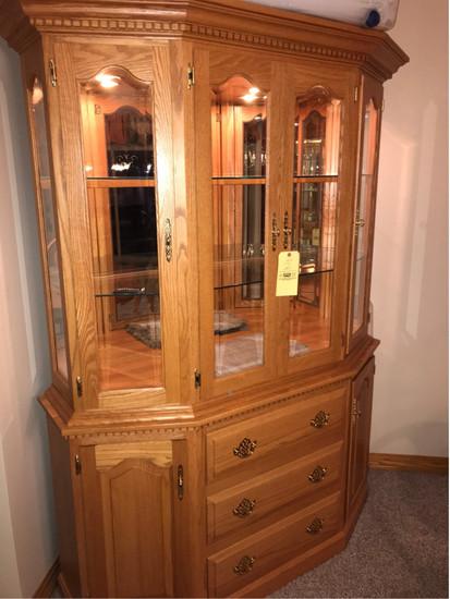 Two-Piece Oak Corner Curio Cabinet