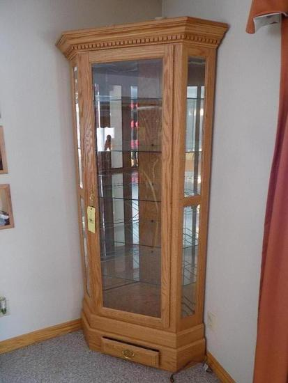 Oak Lighted Curio Cabinet