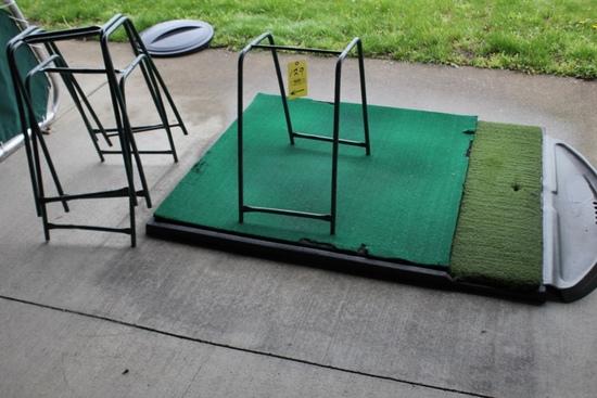 (5) Golf Mats & (5) Bag Stands