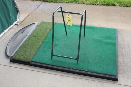 (9) Golf Mats & (5) Bag Stands