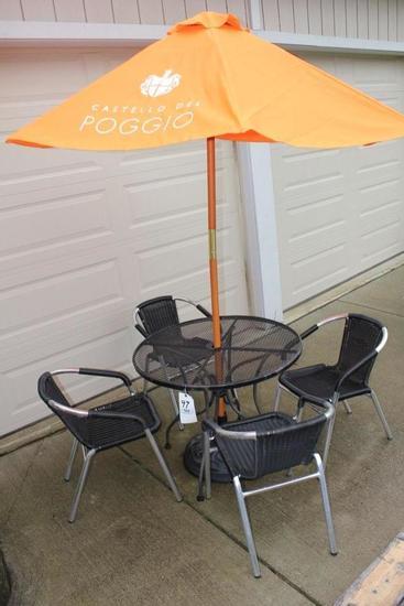 Patio Table, 4 Chairs & Umbrella