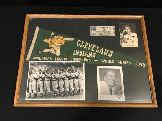 1948 Cleveland Indians World Series Championship Pennant/Ticket Stub