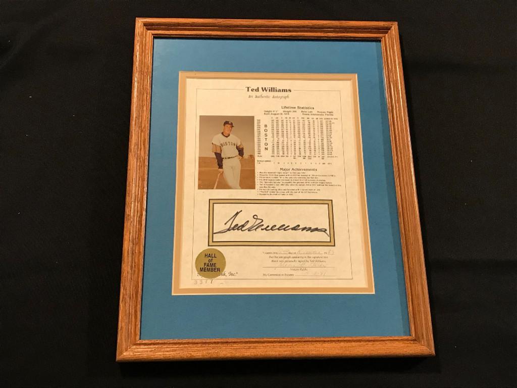 Ted Williams Autographed Lifetime Statistics