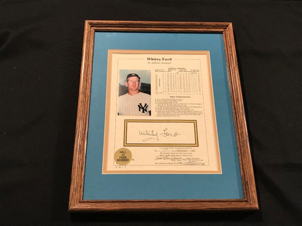 Whitey Ford Autographed Lifetime Statistics