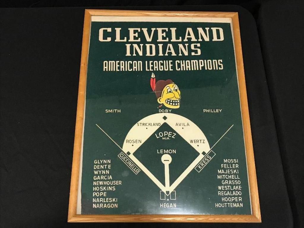 Early Felt Cleveland Indians American League Champ. Lineup