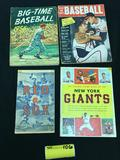 1954 Red Sox Program - 1956 Big Time Baseball - 1958 Yearbook - 1955 Giants Stamp Book
