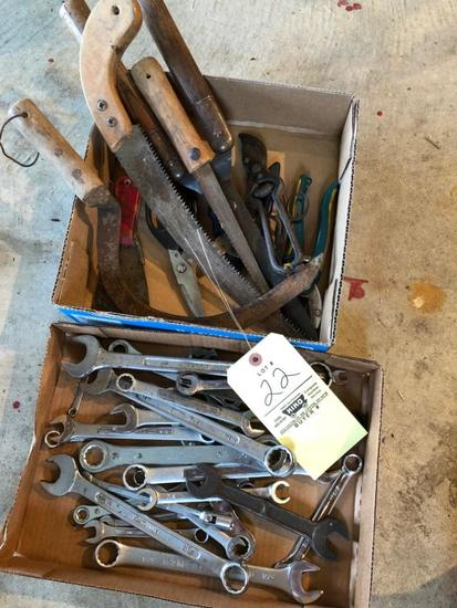 2 Boxes Of Open And Box End Wrenches, Pruners