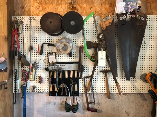 Saws, Bolt Cutters, Assorted Tools On Peg Board