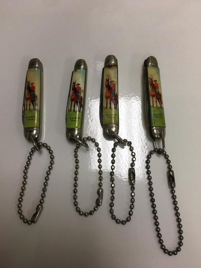 (4) R.C.M.P. KEYCHAIN KNIVES
