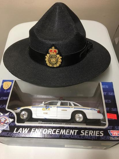 ONTARIO PROVINCIAL POLICE HAT AND MOTOR MAX O.P.P. CRUISER