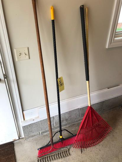 3 rakes & push broom