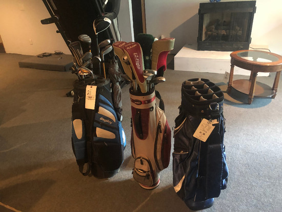 3 Golf Bags, 2 with clubs