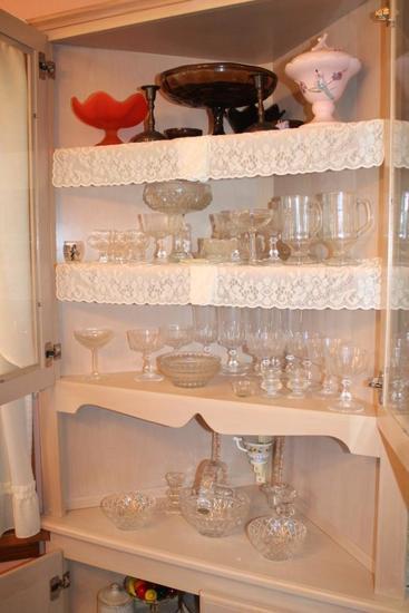 Lenox Pattern Glass, Loads of Stemware, Hull Covered Dish (chipped), Damask China Set, Silvercrest