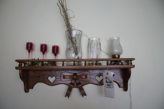 Oak Shelf w/ Wood Bow, Candles, Vase, Glassware