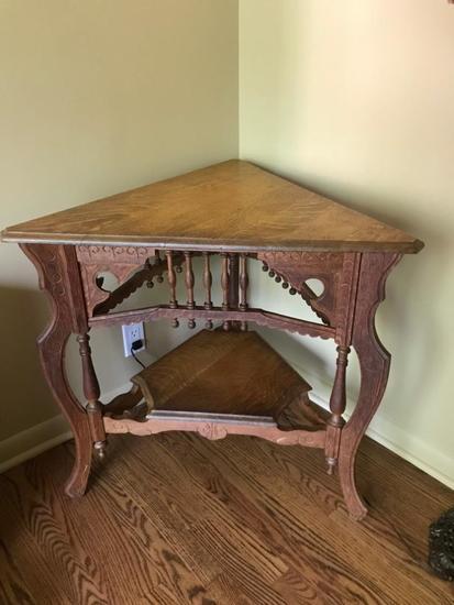 """Oak Corner Table, 29""""T"""