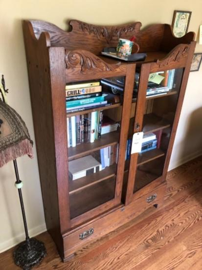 """Oak Applied Carved Bookcase With Drawer & Key, 63"""""""