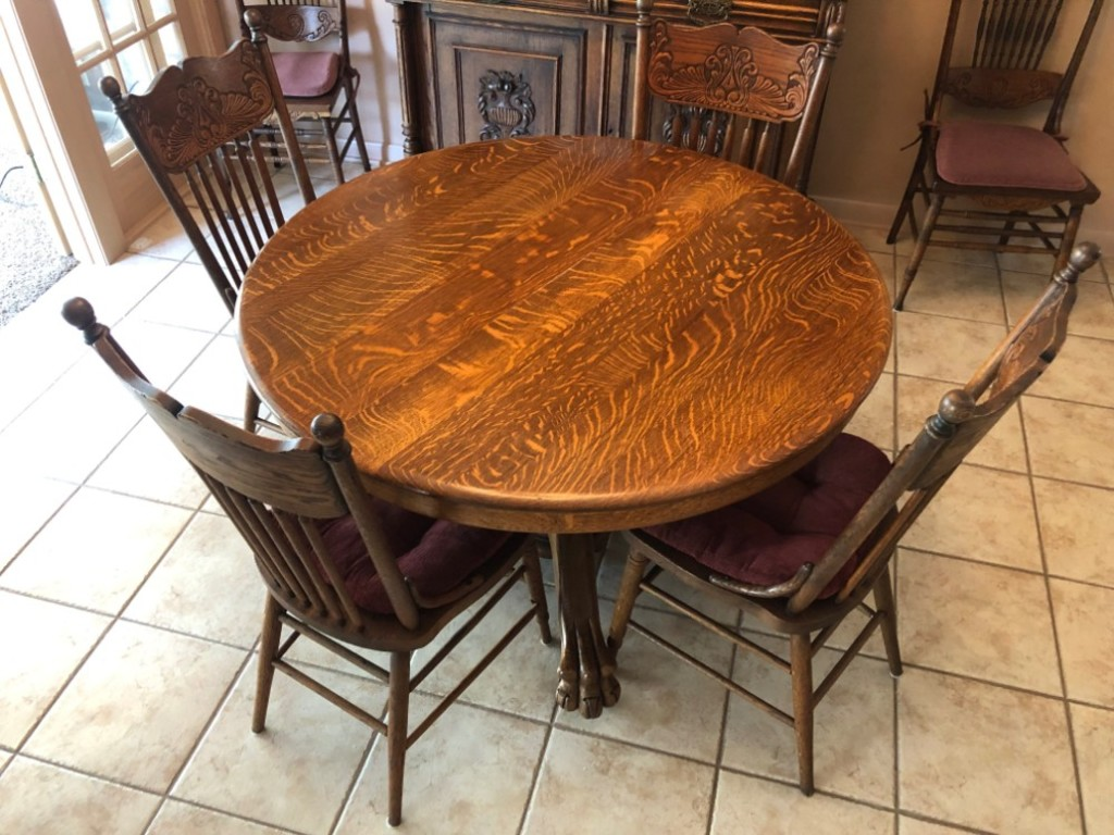 Oak Claw-Foot Dinette With 4 Chairs & 5 Leaves